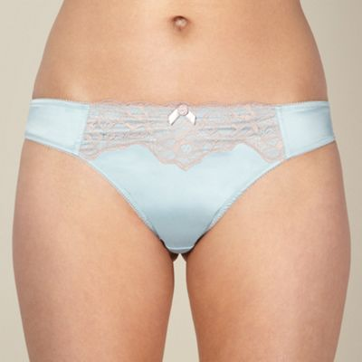 Light blue satin and lace thong