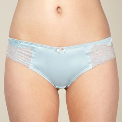 Light blue satin and lace brazilian briefs