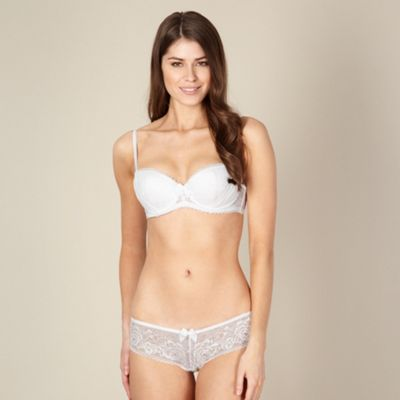 Designer white lace sling balcony bra