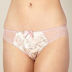 Reger by Janet Reger - Designer pale pink floral satin brazilian briefs