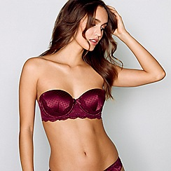 B by Ted Baker - Dark red jacquard satin underwired padded balcony bra