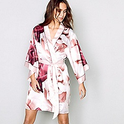 B by Ted Baker - Pink satin 'Porcelain Rose' dressing gown