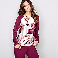 B by Ted Baker - Dark red 'Porcelain Rose' long sleeve pyjama top