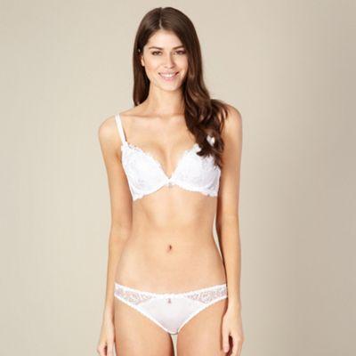 White embroidered plunge bra