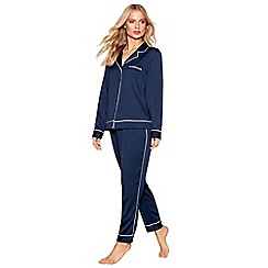 Nine by Savannah Miller - Navy textured satin pyjama set