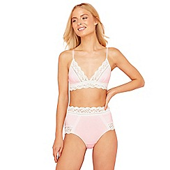 The Collection - Pink lace cotton blend non-wired non-padded bralette
