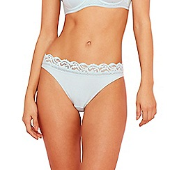 The Collection - Light blue lace cotton blend thong