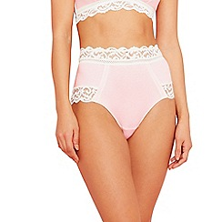 The Collection - Pink lace cotton blend full brief knickers