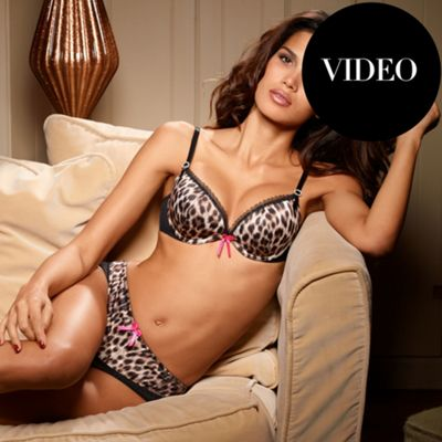Multi coloured Animal Satin push up plunge bra