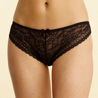 Black 'Sandi' lace hi-leg briefs