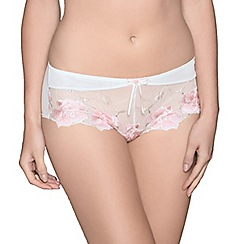Adore Moi by Ultimo - Ivory 'Tigerlilly' floral embroidered shorts
