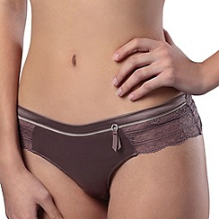 6IXTY 8IGHT - Light brown 'woven satin' thong
