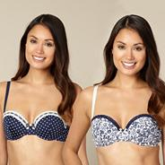 Pack of two navy spotted butterfly balcony bra