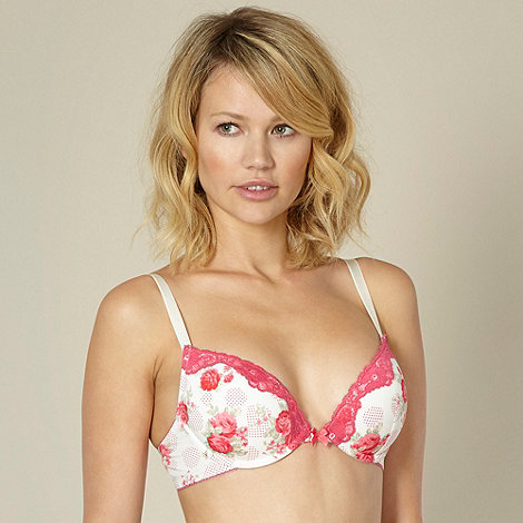 Presence - Pack of two pink rose and spotted print plunge bras