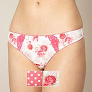 Pack of two pink rose and spotted print thongs