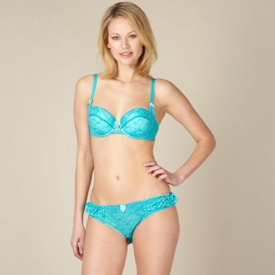 Turquoise spotted lace balcony bra