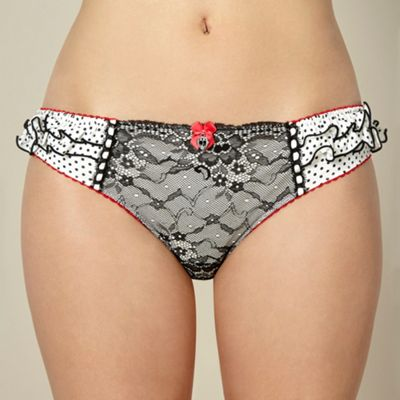 Designer white lace hipster briefs