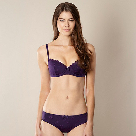 Presence - Purple embroidered microfibre balcony bra