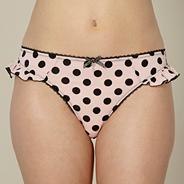 Pink spotted microfibre thong