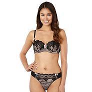 Designer black lace balcony bra