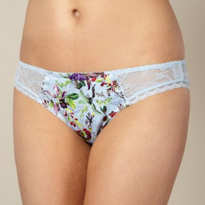 B by Ted Baker Blue floral garden print lace hipster briefs - . -
