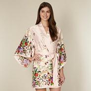 Beige floral garden print kimono