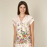 Beige floral garden print pyjama shirt