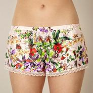 Beige floral garden print pyjama shorts