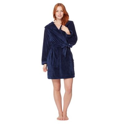 B by Ted Baker Navy short moleskin dressing gown - . -