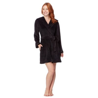 B by Ted Baker Black short moleskin dressing gown - . -