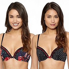 Presence - Pack of two black floral plunge bras