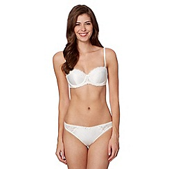 J by Jasper Conran - Designer ivory embroidered lace trim strapless balcony bra
