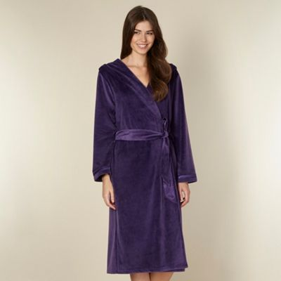 B by Ted Baker Dark purple moleskin long dressing gown - . -