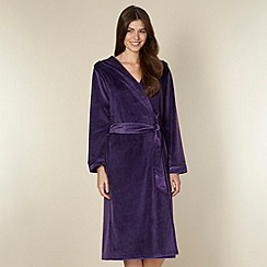 B by Ted Baker - Dark purple moleskin long dressing gown