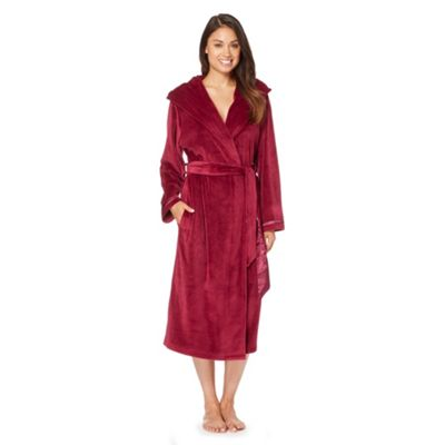 B by Ted Baker Maroon moleskin long dressing gown - . -