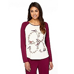 B by Ted Baker - Maroon bird print jersey pyjama top