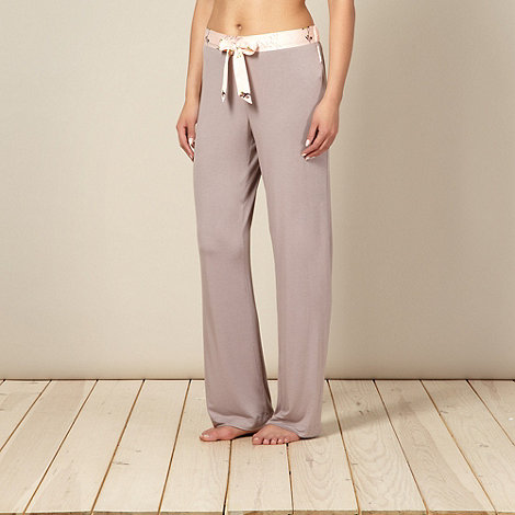 B by Ted Baker - Beige floral trim plain pyjama bottoms