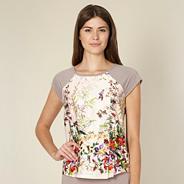 Beige floral garden print pyjama top
