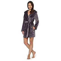 B by Ted Baker - Grey debossed logo short velour dressing gown