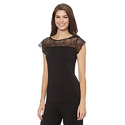 B by Ted Baker - Black jersey and lace pyjama t-shirt
