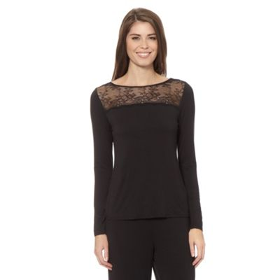 B by Ted Baker Black jersey and lace pyjama top - . -