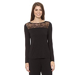 B by Ted Baker - Black jersey and lace pyjama top