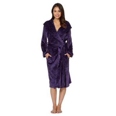 B by Ted Baker Purple debossed logo long velour dressing gown - . -