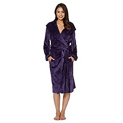 B by Ted Baker - Purple debossed logo long velour dressing gown