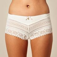 Cream lace detail shorts