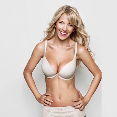 Natural OMG +2 cup sizes push up plunge bra