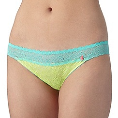 Iris & Edie - Lime floral lace hipster briefs