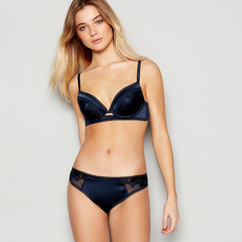 JENNY PACKHAM | No. 1 Jenny Packham - Navy Silk Blend Underwired Padded Plunge Bra | Goxip
