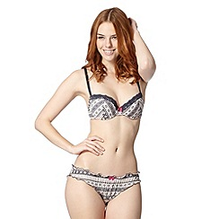 Iris & Edie - Dark grey fairisle padded balcony bra