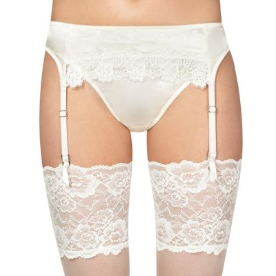 Ivory lace trim bridal suspender